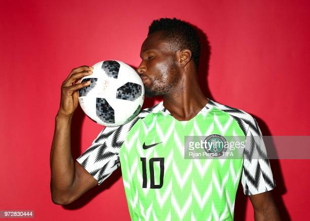 Mikel John Obi of Nigeria poses during the official FIFA World Cup 2018 portrait session on June 12 2018 in Yessentuki Russia