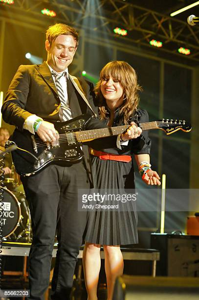 Mikel Jollett and Anna Bullock of Airborne Toxic Event perform on stage at the Bat Bar as part of the SXSW 2009 Music Festival on March 19 2009 in...