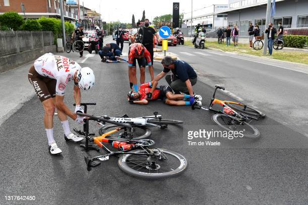 Mikel Landa Meana of Spain and Team Bahrain Victorious, Rafael Valls Ferri of Spain and Team Bahrain Victorious, Francois Bidard of France and AG2R...