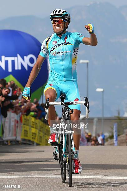 Mikel Landa of Spain and Astana Pro Racing celebrates victory during stage four of the Giro del Trentino from Val Daone to Monte Bondone on April 25...