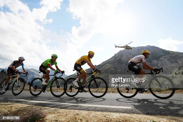 Mikel Landa of Spain and Team SKY leads team mate and race leader Chris Froome of Great Britain Rigoberto Uran of Colombia and Cannondale Drapac and...