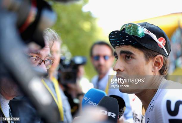 Mikel Landa of Spain riding for Team Sky speaks to the media prior to stage 14 of the Le Tour de France 2017 a 181km stage from Blagnac to Rodez on...