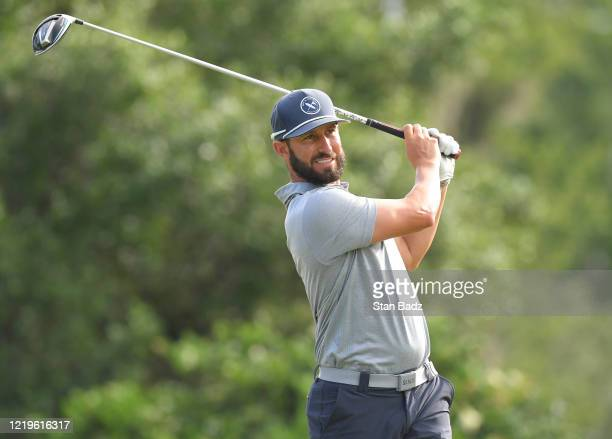 Mikel Martinson plays a tee shot on the first hole during the second round at the Korn Ferry Tour's Korn Ferry Challenge at TPC Sawgrass at Dyes...