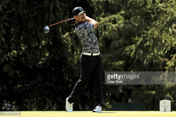 Mikel Martinson plays his shot from the second tee during Round One of the Price Cutter Championship at the Highland Springs Country Club on July 23...