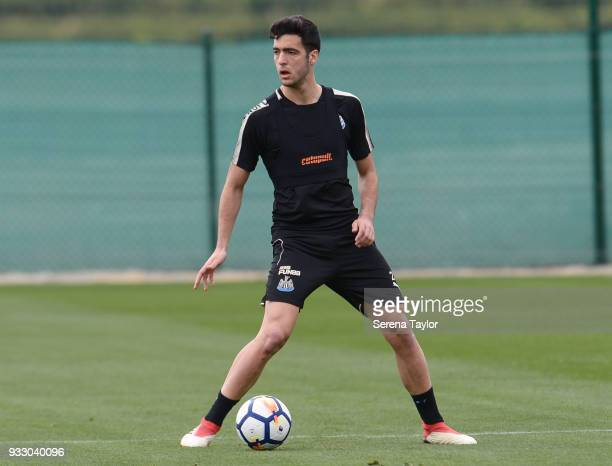 Mikel Merino controls the ball during the Newcastle United Training Session at Hotel La Finca on March 17 in Alicante Spain