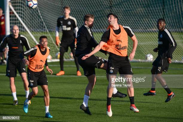 Mikel Merino heads the ball clear of Florian Lejeune during the Newcastle United Training Session at Hotel La Finca on March 15 in Alicante Spain