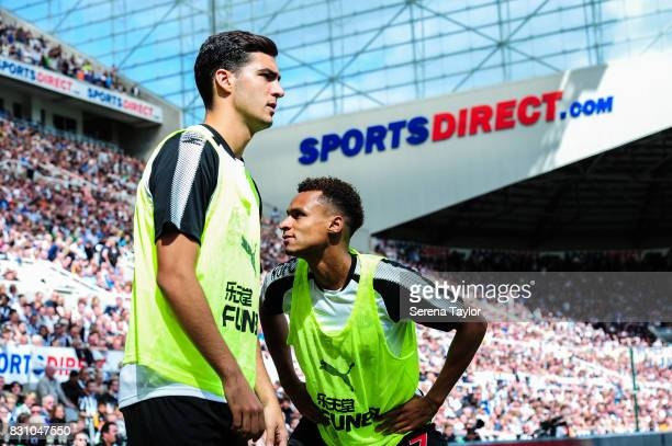 Mikel Merino of Newcastle United and Jacob Murphy warm up during the Premier League Match between Newcastle United and Tottenham Hotspur at StJames'...
