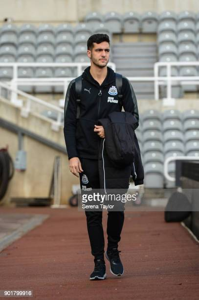 Mikel Merino of Newcastle United arrives for the Emirates FA Cup Third Round between Newcastle United and Luton Town at StJames' Park on January 6 in...