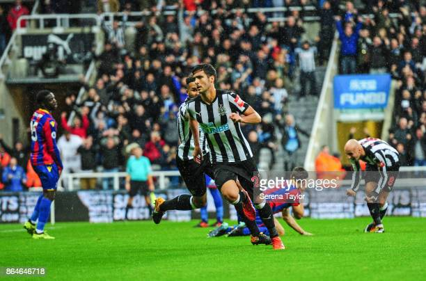 Mikel Merino of Newcastle United celebrates after he scores the only goal during the Premier League match between Newcastle United and Crystal Palace...