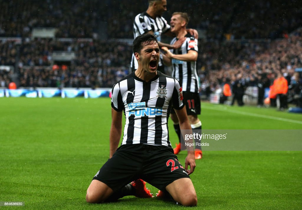 Mikel Merino of Newcastle United celebrates as he scores their first goal during the Premier League match between Newcastle United and Crystal Palace at St. James Park on October 21, 2017 in Newcastle upon Tyne, England.