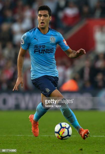 Mikel Merino of Newcastle United controls the ball during the Premier League match between Southampton and Newcastle United at StMary's Stadium on...