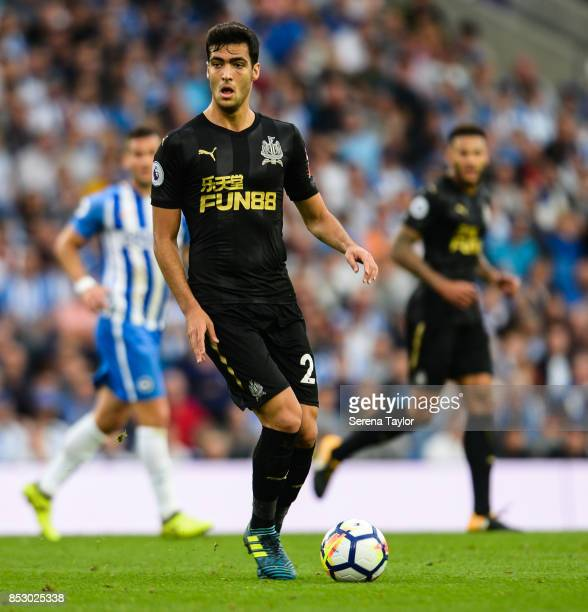 Mikel Merino of Newcastle United controls with the ball during the Premier League match between Brighton and Hove Albion and Newcastle United at Amex...