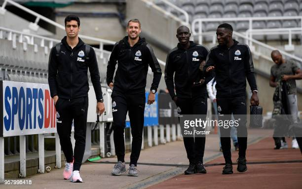 Mikel Merino of Newcastle United Florian Lejeune of Newcastle United Mohamed Diame of Newcastle United and Massadio Haidara of Newcastle United...