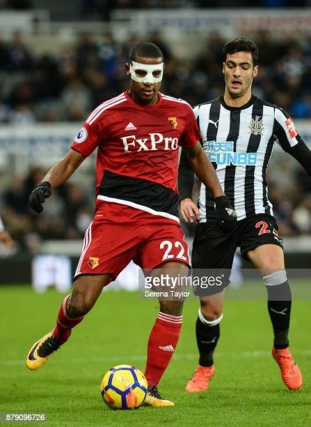 Mikel Merino of Newcastle United looks to challenge Marvin Zeegelaar of Watford for the ball during the Premier League match between Newcastle United...