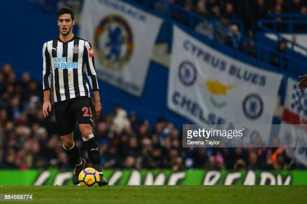 Mikel Merino of Newcastle United looks to pass the ball during the Premier League match between Chelsea and Newcastle United at Stamford Bridge...