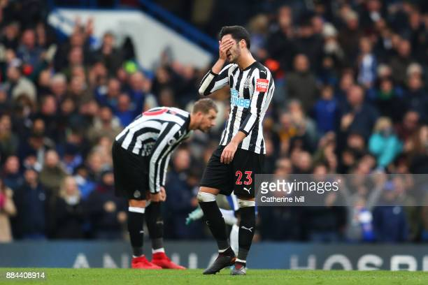 Mikel Merino of Newcastle United reacts to Chelsea scoring there third goal during the Premier League match between Chelsea and Newcastle United at...