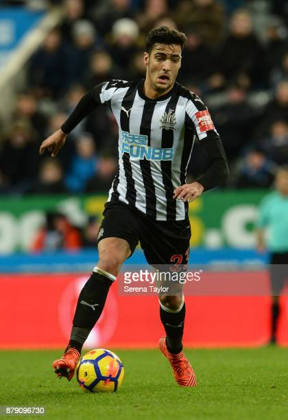 Mikel Merino of Newcastle United runs with the ball during the Premier League match between Newcastle United and Watford FC at StJames' Park on...