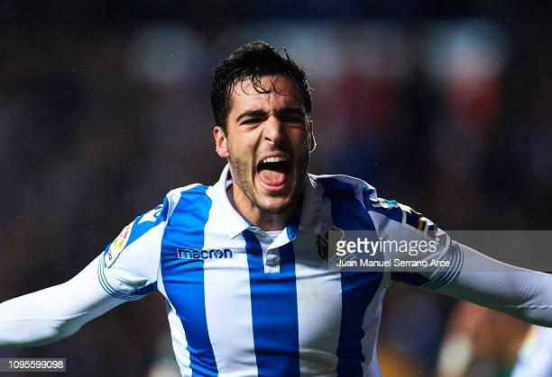 Mikel Merino of Real Sociedad celebrates after scoring his team's second goal during the Copa del Rey Round of 16 second leg match between Real...