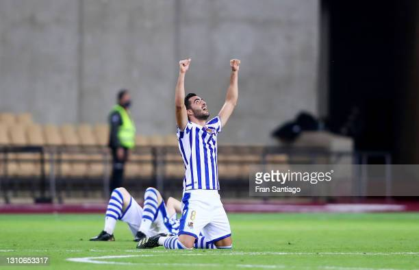 Mikel Merino of Real Sociedad celebrates their team's victory at full-time after the Copa Del Rey Final match between Real Sociedad and Athletic Club...