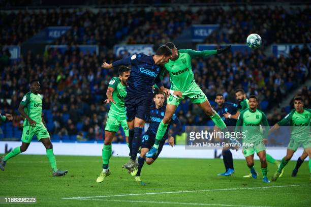 Mikel Merino of Real Sociedad heads the ball on goal during the Liga match between Real Sociedad and CD Leganes at Estadio Anoeta on November 08,...