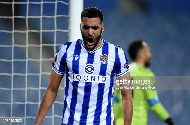 Mikel Merino of Real Sociedad reacts during the UEFA Europa League Group F stage match between Real Sociedad and SSC Napoli at Estadio Anoeta on...