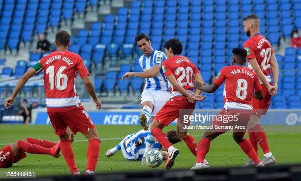 Mikel Merino of Real Sociedad scores his teams first goal during the Liga match between Real Sociedad and Granada CF at Estadio Anoeta on July 10...
