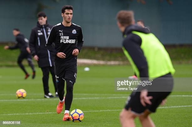 Mikel Merino runs with the ball during the Newcastle United Training Session at The Newcastle United Training Centre on October 26 in Newcastle...