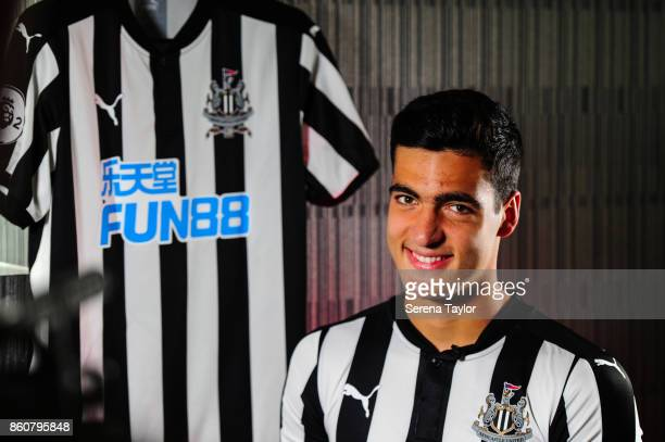 Mikel Merino sits for an interview with NUFCTV after signing a permanent contract at the Newcastle United Training Centre on October 13 in Newcastle...