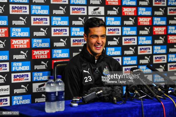 Mikel Merino speaks to the press after signing a permanent contract at the Newcastle United Training Centre on October 13 in Newcastle England