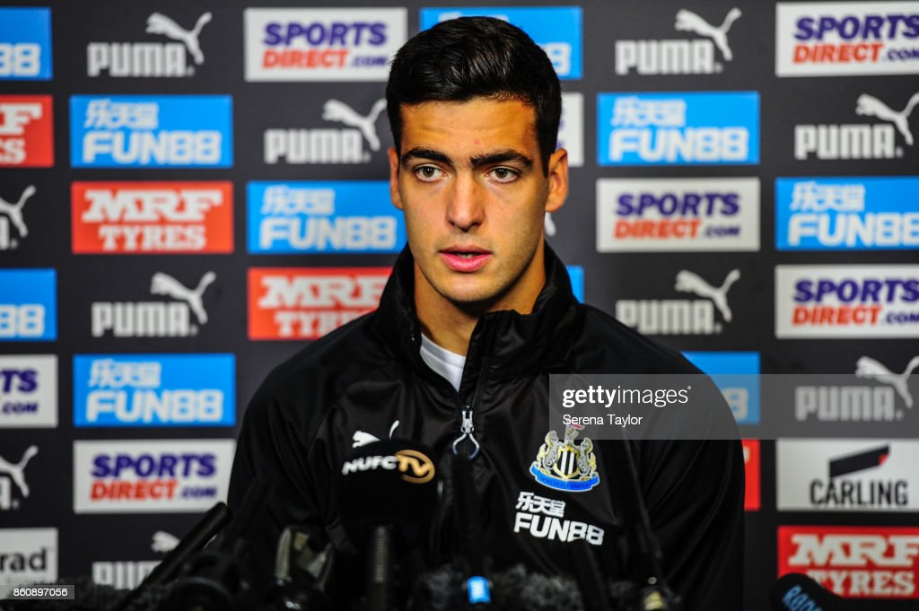 Mikel Merino speaks to the press after signing a permanent contract at the Newcastle United Training Centre on October 13, 2017, in Newcastle, England.