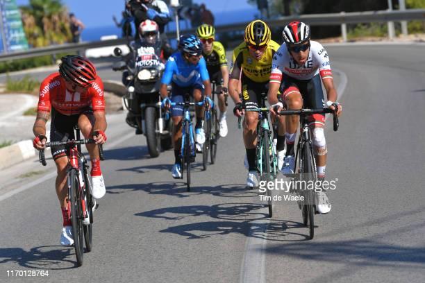Mikel Nieve Ituralde of Spain and Team MitcheltonScott / Primoz Roglic of Slovenia and Team JumboVisma / Fabio Aru of Italy and UAE Team Emirates /...