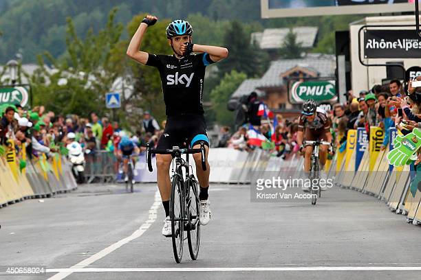 Mikel Nieve of Spain and Team Sky celebrates as he wins the eighth stage of the Criterium du Dauphine on June 15, 2014 between Megeve and Courchevel,...