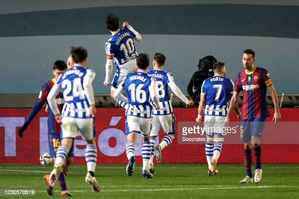 Mikel Oyarzabal of Real Sociedad celebrates 1-1 after penalty during the Spanish Super Cup match between Real Sociedad v FC Barcelona at the Nuevo...