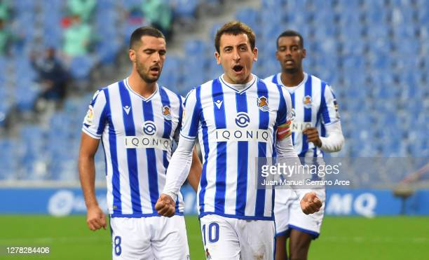 Mikel Oyarzabal of Real Sociedad celebrates after scoring his team's first goal during the La Liga Santander match between Real Sociedad and Getafe...