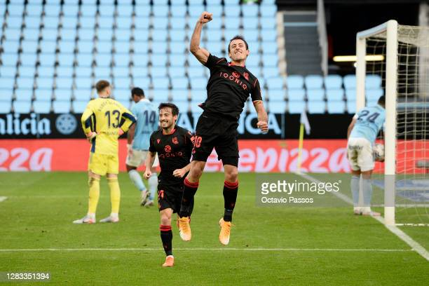 Mikel Oyarzabal of Real Sociedad celebrates after scoring his team's second goal during the La Liga Santander match between RC Celta and Real...