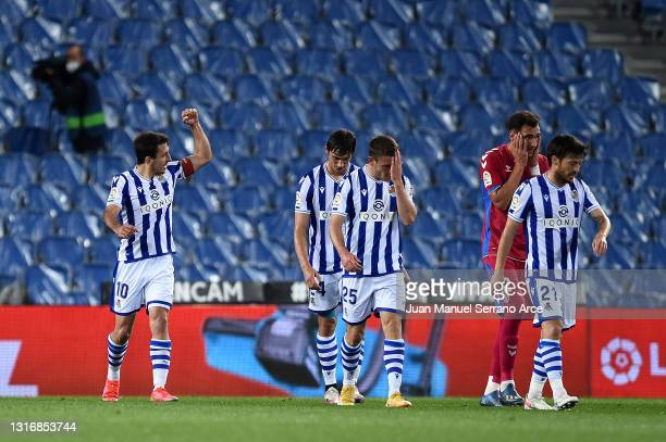 Mikel Oyarzabal of Real Sociedad celebrates after scoring his team's second goal during the La Liga Santander match between Real Sociedad and Elche...