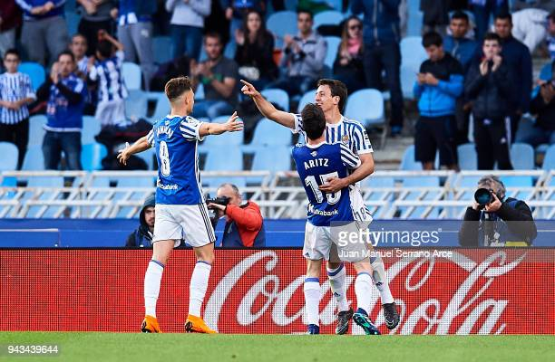 Mikel Oyarzabal of Real Sociedad celebrates after scoring his team's third goal during the La Liga match between Real Sociedad de Futbol and Girona...