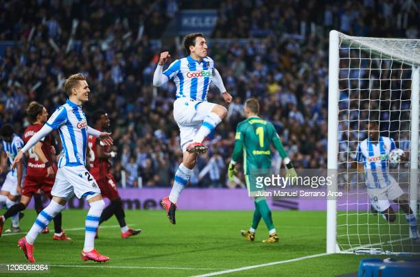 Mikel Oyarzabal of Real Sociedad celebrates after scoring the first goal of his team during the Copa del Rey Semi-Final 1st Leg match between Real...