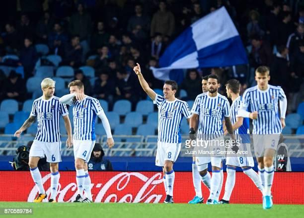 Mikel Oyarzabal of Real Sociedad celebrates after scoring the third goal for Real Sociedad during the La Liga match between Real Sociedad and Eibar...