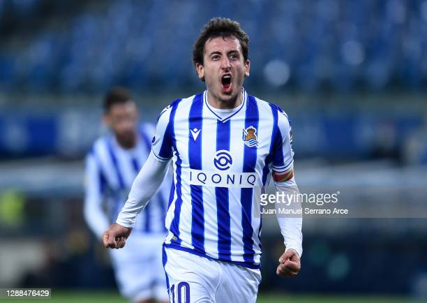 Mikel Oyarzabal of Real Sociedad celebrates after scoring their sides first goal during the La Liga Santander match between Real Sociedad and...