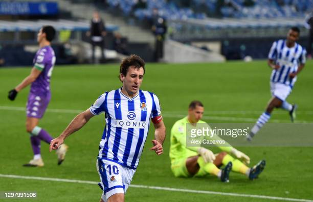 Mikel Oyarzabal of Real Sociedad celebrates after scoring their side's second goal during the La Liga Santander match between Real Sociedad and Real...