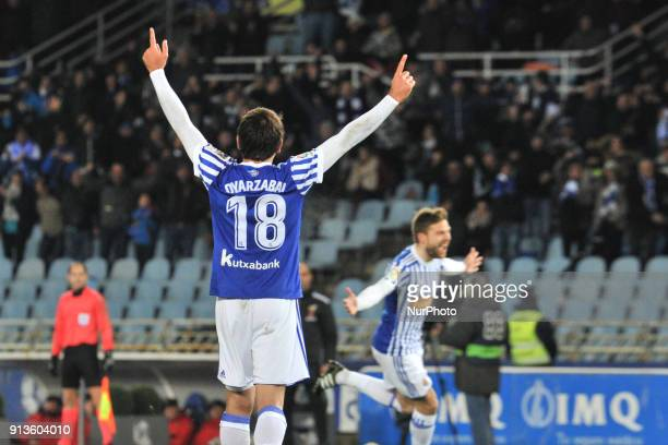Mikel Oyarzabal of Real Sociedad celebrates the goal of Illarramendi during the Spanish league football match between Real Sociedad and of Deportivo...