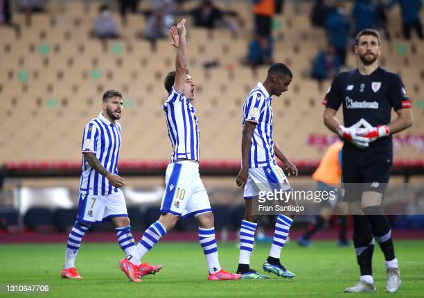 Mikel Oyarzabal of Real Sociedad celebrates with teammates Portu and Alexander Isak after scoring their team's first goal during the Copa Del Rey...