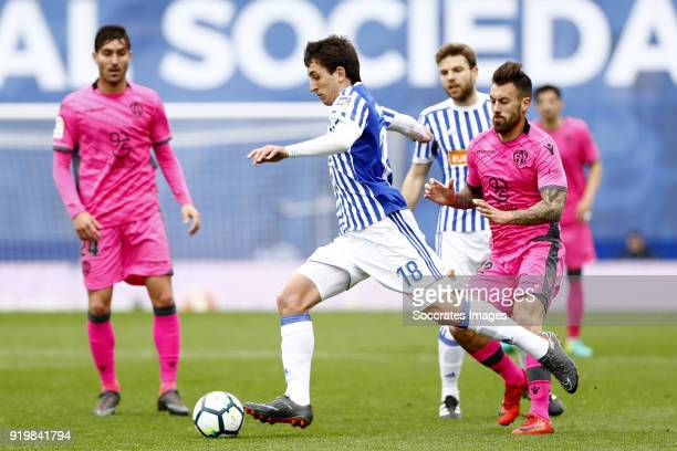 Mikel Oyarzabal of Real Sociedad Coke of Levante during the La Liga Santander match between Real Sociedad v Levante at the Estadio Anoeta on February...
