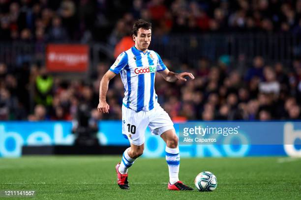Mikel Oyarzabal of Real Sociedad conducts the ball during the Liga match between FC Barcelona and Real Sociedad at Camp Nou on March 07 2020 in...