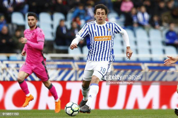 Mikel Oyarzabal of Real Sociedad during the La Liga Santander match between Real Sociedad v Levante at the Estadio Anoeta on February 18 2018 in San...