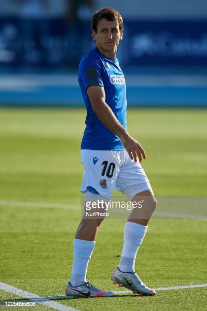 Mikel Oyarzabal of Real Sociedad during the warm-up before the Liga match between Levante UD and Real Sociedad at Ciutat de Valencia on July 6, 2020...