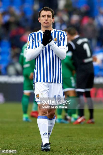 Mikel Oyarzabal of Real Sociedad greets the fans after the La Liga match between Leganes and Real Sociedad at Estadio Municipal de Butarque on...