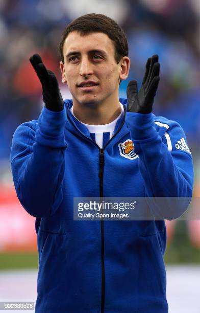 Mikel Oyarzabal of Real Sociedad greets the fans prior to the the La Liga match between Leganes and Real Sociedad at Estadio Municipal de Butarque on...