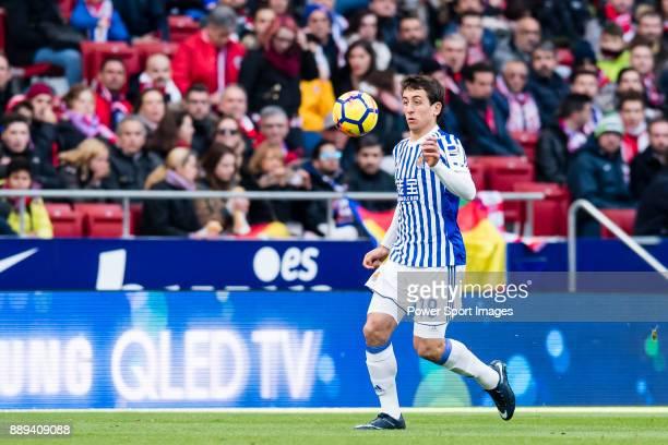 Mikel Oyarzabal of Real Sociedad in action during the La Liga 201718 match between Atletico de Madrid and Real Sociedad at Wanda Metropolitano on...